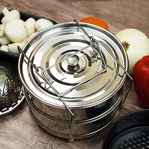 ArkType Stackable Stainless Steel Pressure Cooker Steamer | Non Stick Spring Form Pan | Foldable Steamer | Instant Pot Accessories Bundle by ArkType (Image #1)'