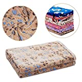 LUXMO Pet Blanket Warm Cats Dogs Soft Coral Fleece Sleep Mat Pad Bed Sofa Blankets Cover with Paw Print Cute Blanket for Puppy and Other Small Size Animals [Brown] Review