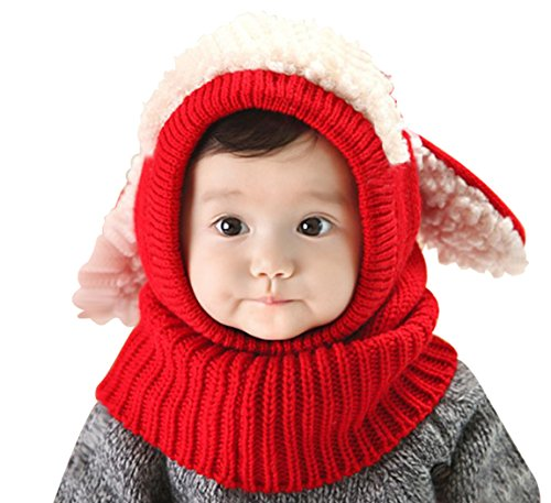 Red Cap Clothing (PETREL Baby Girls Boys Winter Hat Scarf Earflap Hood Scarves Skull Caps Red)