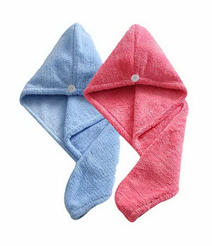 Women's Soft Shower Hair Towel Super Absorbent Drying Hair Cap Blue + Red 4 Pack by Gentle Meow