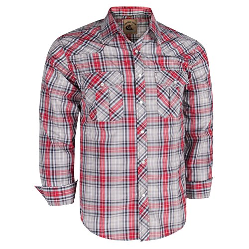 Coevals Club Men's Long Sleeve Casual Western Plaid Snap Buttons Shirt (L, 22#gray,red) (Western Shirt Man)
