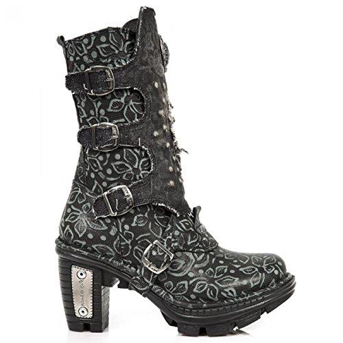 New Rock Laarzen M.neotr045-s1 Gothic Hardrock Punk Damen Stiefel Schwarz