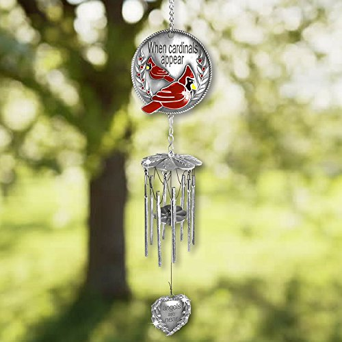 Banberry Designs™ Memorial WindChimes - When Cardinals Appear Angels are Near - Red Cardinal Wind Chime with a Remembrance Saying