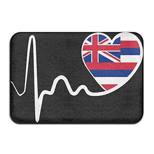 Hawaii State Flag Heartbeat-1 Indoor Outdoor Entrance Rug Non Slip Kitchen Rug Doormat Rugs Home by HONMAt-Non