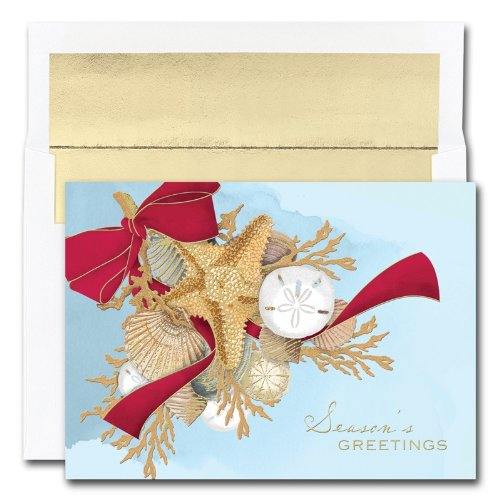 Swag Holiday Card - Shell Swag Cards from the Fine Impressions Warmest Wishes Collection.