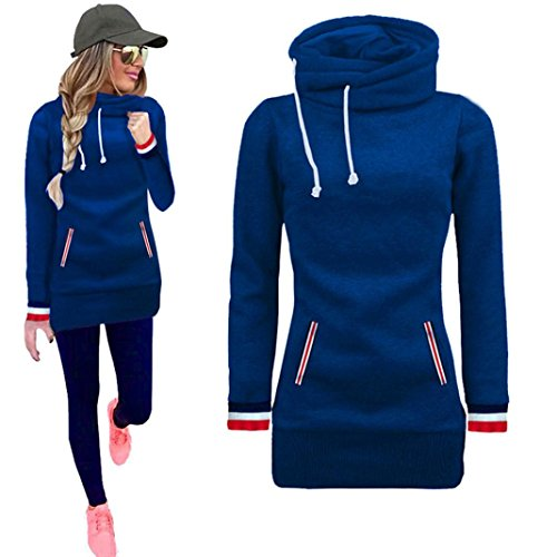 Han Shi Hoodies, Women Long Sleeve Blouse Turtleneck Sweatshirt Pullovers Tops T-Shirt (M, Blue)