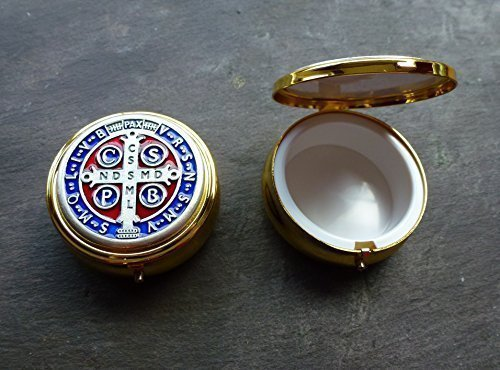 Brass pyx St. Benedict colour enamel lid Eucharist Communion wafer Catholic 6cm by R. Heaven by R. Heaven