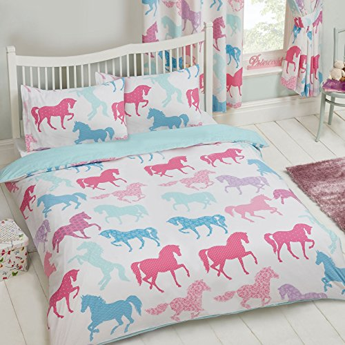 Rosa Duvet Cover - Patchwork Ponies Horses 2 Piece UK Double /US Full Sheet Set, 1 x Double Sided Sheet and 2 x Pillowcases, Pink, Rosa, Light Blue, Multi