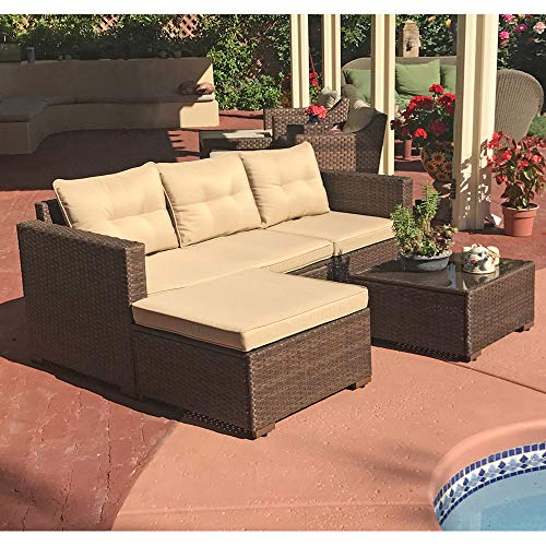 SUNSITT Outdoor Furniture Sectional Sofa (4 Piece Set) All Weather Brown Wicker with Beige Seat Cushions, Ottoman & Glass Coffee Table | Patio, Backyard, Pool | Steel Frame from SUNSITT