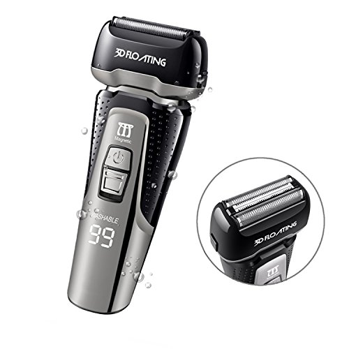 Electric Shaver, ELECTRFIRE Electric Foil Shaver for Men with 4-Blade Waterproof Razor for Men with USB Quick Rechargeable Sideburn Man Trimmer Cordless Pop Up Trimmer LCD Display Travel Lock- Best Gi by ELECTRFIRE