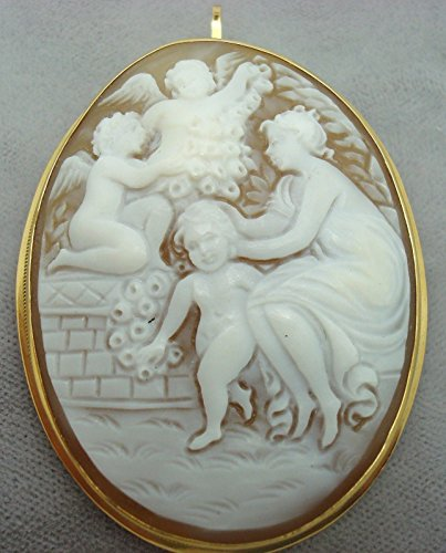 18K Gold Woman and Angels Figural Genuine Natural Shell Cameo Pin (#1887)