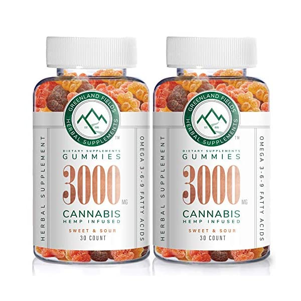 (2-Pack) Organic Hemp Gummies – 3000MG – Joint & Muscle Relief, Better Sleep – Sweet & Sour – Infused with Colorado Grown Hemp, Rich in Omega 3-6-9 & Vitamin E, Non-GMO, Vegan.