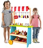 Pidoko Kids Bakery Kiosk Cart | Lemonade Stand Toy Kitchen - Grocery Marketplace Store for Role Play Adventures - Includes 54 Pcs Accessories