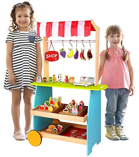 Pidoko Kids Bakery Kiosk Cart | Lemonade Stand Toy Kitchen - Grocery Marketplace Store for Role Play Adventures - Includes 54 Pcs - Kids Kiosk