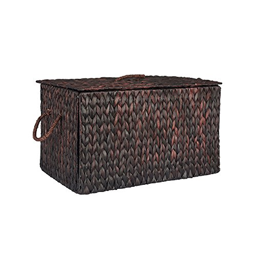 Household Essentials ML-6615B Extra Large Wicker Storage Box with Lid - 15.94''H x 27''W x 16.9''D - Dark Brown by Household Essentials