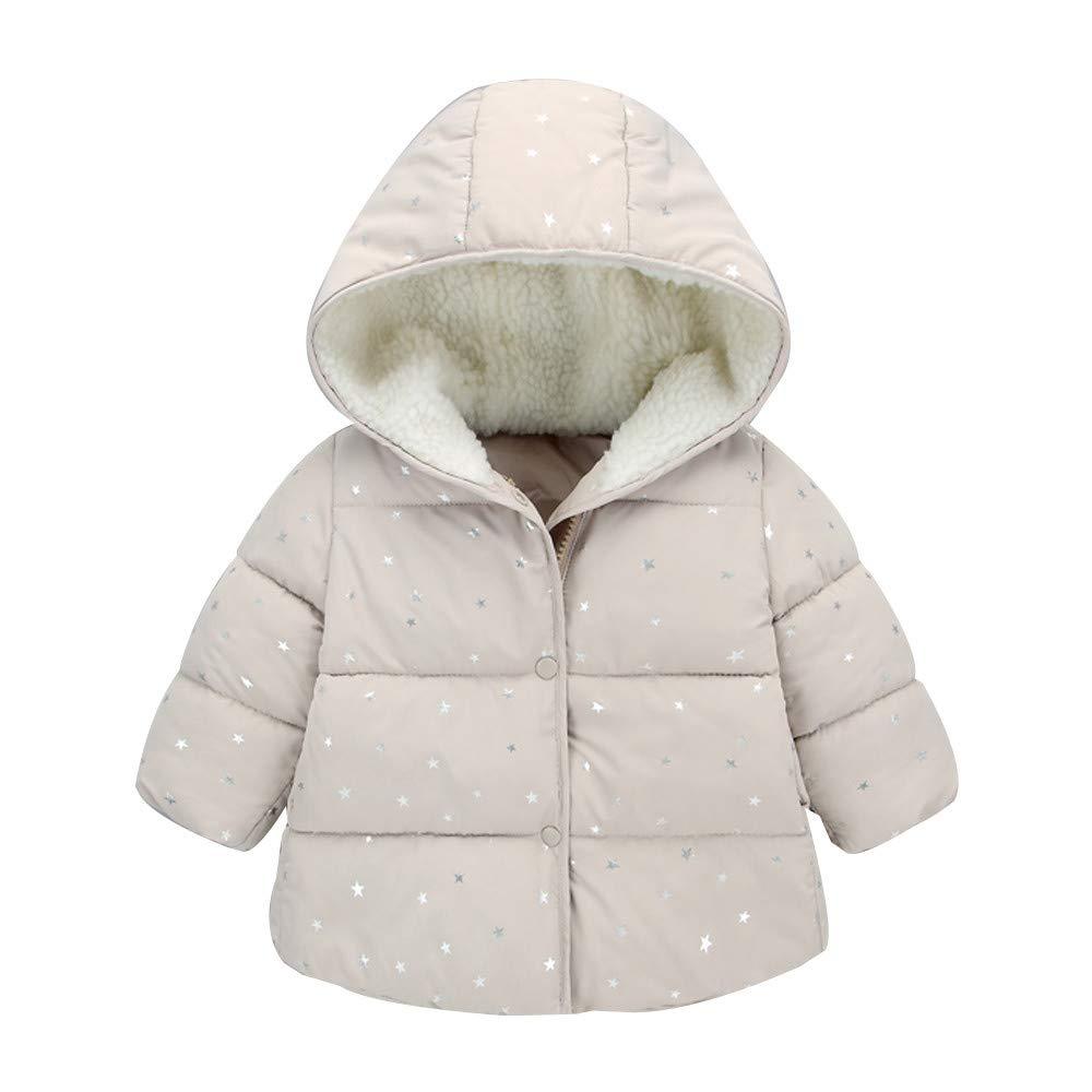 Culater Natale Bambini Neonate Stella Punto Cappotto Invernale Caldo con Cappuccio Stampato Top Clothes MK-1203