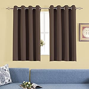 Aquazolax Blackout Window Curtains and Drapes for Kitchen Window Treatment Thermal Insulated Solid Grommet Blackout Drapery Panels, 1 Pair, W54 x L54, Toffee Brown