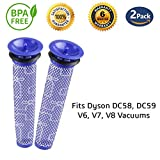 [Washable] 2 Pack Filters for Dyson vacuums, Replacement Filter for Dyson DC58 DC59 DC61 DC62 V6 V7 V8 Animal Vacuum Cleaner, Replaces Part # 965661-01 (2 Filters)