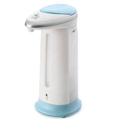 Sensible automático dispensador de jabón con sensor de infrarrojos integrado inteligente para cocina baño blanco azul