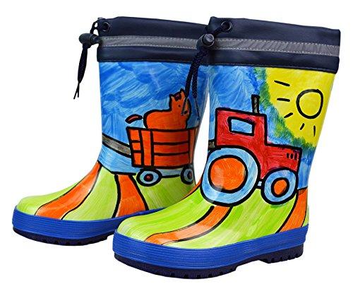 MAXIMO enfants en caoutchouc tiefel, Bottes en caoutchouc, caoutchouc naturel bébé, bleu/motif tracteur Terracotta, peint à la main chaque Bottes Un unique