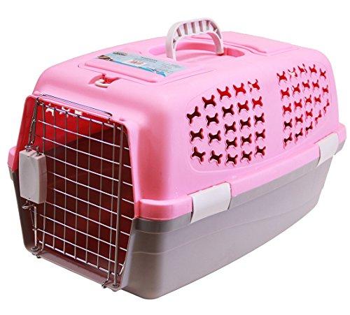 BPS (R) Transportín Rígido para Perro o Gato, Animales Domésticos, Tamaño: 60 x 39 x 35 cm. (Rosa)
