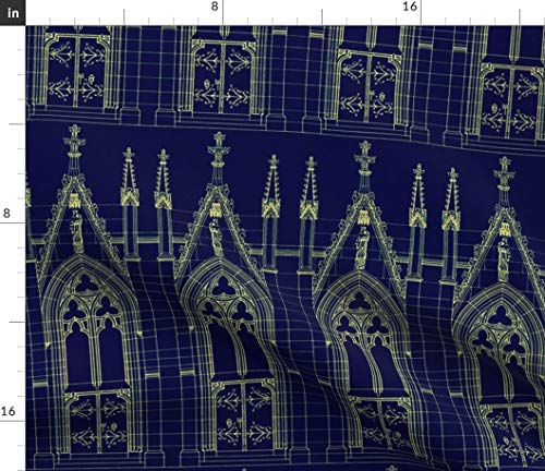 Jersey Blueprint - Spoonflower Blue Fabric - Yellow Church Religious Medieval Blueprint Blue Print by Peacoquettedesigns Printed on Modern Jersey Fabric by The Yard