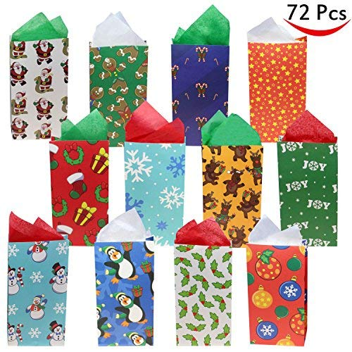 72 Pack of Christmas Holiday Goody Bags 12 Assorted Christmas Designs Goodie Bags for Classrooms Party Favors Small Gift Bags Kraft Holiday Gift Bags and Christmas Craft Bags by Joiedomi