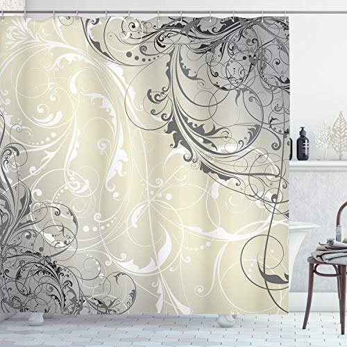 Ambesonne Floral Shower Curtain by, Baroque Swirled Branches Curved Flower Leaves Elegance Shabby Chic Pattern, Fabric Bathroom Decor Set with Hooks, 70 Inches, Egg Shell Grey White
