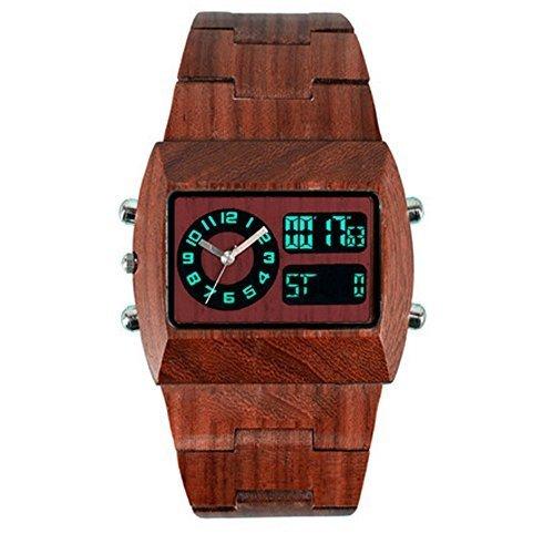 OrrOrr Vintage Digital Analog Holzuhr Herrenuhr Damenuhr Armbanduhr LED Datum Sportuhr Geschenk Braun