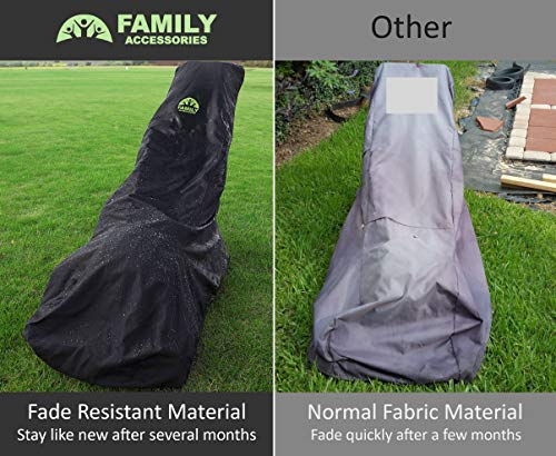 Family Accessories Waterproof Lawn Mower Cover, Heavy Duty, Durable, UV and Water Resistant Cover for Push Mowers – Black