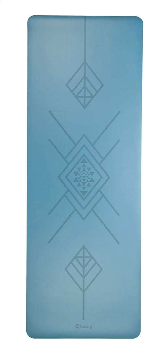 Tapete de Yoga azul-claro estampa Tribal Antiga PU 100% Borracha Natural, ecológico, indicado para níveis avançados de Yoga, alta aderência 185 x 60cm 4.0mm Bodhi