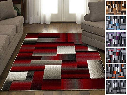 Amazon Com Handcraft Rugs Red Black Gray Abstract