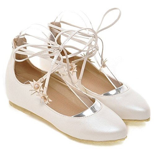 COOLCEPT Girls Sweet Lace Up Pumps Height Increasing Closed Toe Shoes White aN0j0