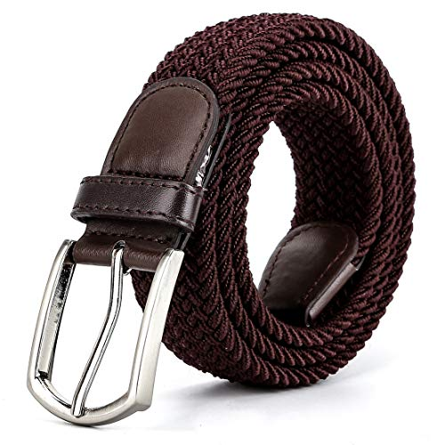 (Braided Canvas Woven Elastic Stretch Belts for Men/Women/Junior with Multicolored (Brown, XXX-Large/48