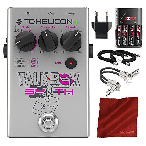 TC Helicon Talkbox Synth Electric Guitar Pedal for Singers with Xpix Rechargeable Battery Kit and Cables Deluxe Bundle