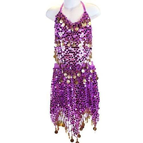 Pilot-trade Kid's Belly Dance Costume Girls Sparkly Circle Sequin Coins Top & Skirt Purple (Sexy Belly Dance Costumes)