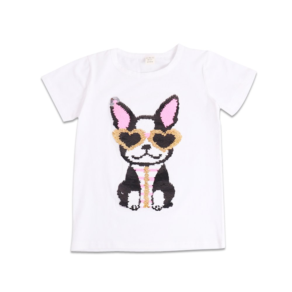 OWMMIZ Kid's T-Shirt for Short Sleeve Cotton Tee Dog/Heart Sequin etc Print T Shirt Suitable for Boys and Girls (Height 51 inch, White Glasses Dog) by OWMMIZ
