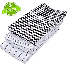 BaeBae Goods Changing Pad Cover Set | Cradle Bassinet Sheets/Change Table Covers for Boys & Girls | Super Soft 100% Jersey Knit Cotton | Black and White | 150 GSM | 3 Pack