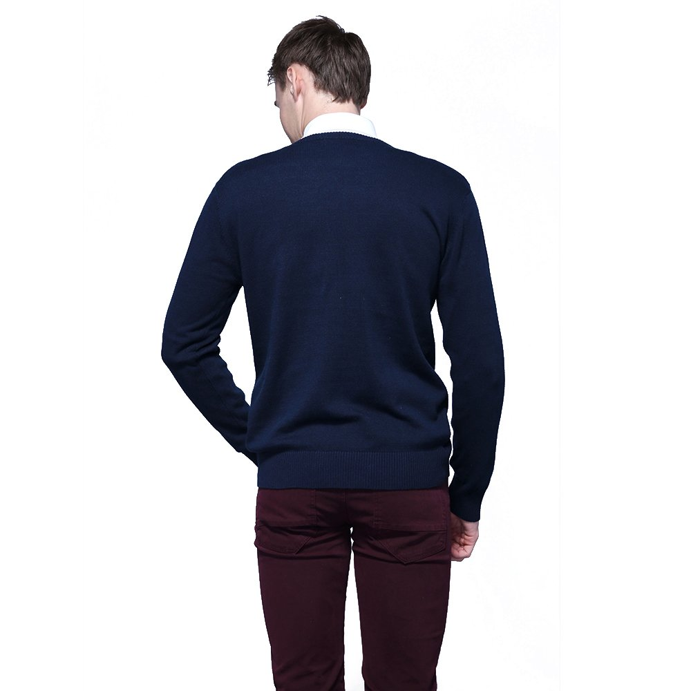 FASHIONMIA Mens Casual Solid Slim Fit Sweater Pullover Dark Blue L by FASHIONMIA (Image #5)