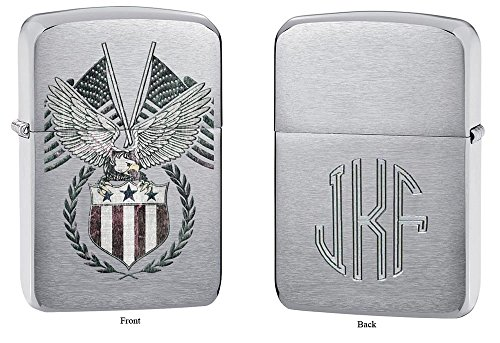 Zippo American Eagle Emblem Windproof Lighter with Free Monogram