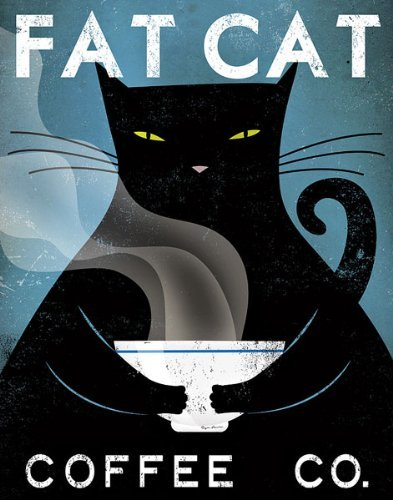 Fat Cat Coffee Co Ryan Fowler Vintage Ads Cats Print Poster (Choose Print or Framed) (Posters Vintage Coffee)