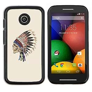 TECHCASE---Cubierta de la caja de protección para la piel dura ** Motorola Moto E ( 1st Generation ) ** --Plumas Sombrero indios nativos Jefe