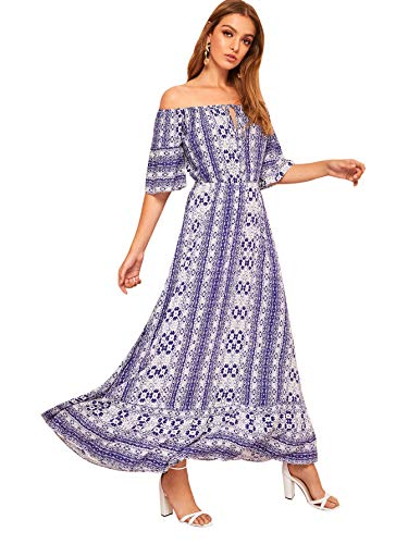 (Milumia Women Off Shoulder Tribal Print Knot Keyhole Boho Maxi Dress Blue-2 L)