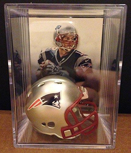 New England Patriots NFL Helmet Shadowbox w/ Tom Brady card (Tom Brady Mini Helmet)