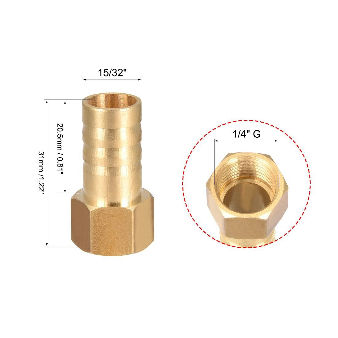 sourcing map Raccordo portagomma in ottone raccordo tubo flessibile adattatore per connettore 8mm x spinato 1//2 G tubo femmina 5pz