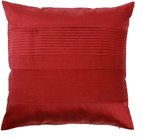 Loft Collection Luxury Pleat Decorative Pillow Replacement Cover, Brick Red