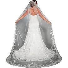EllieHouse Women's Lace Chapel Wedding Bridal Veil With Free Comb E03