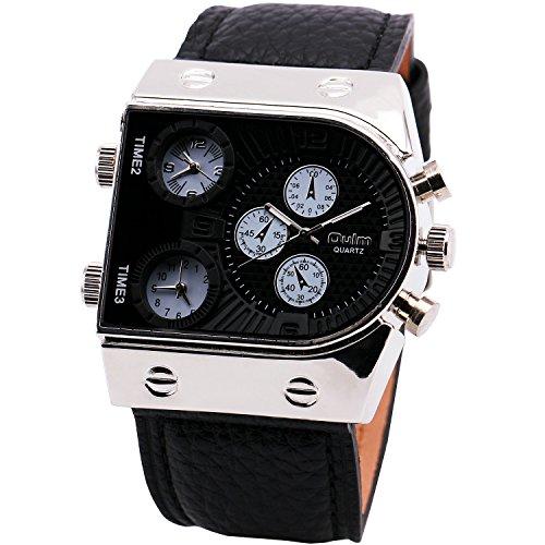 AHMET Bargain Oulm Man's Fashion Watch with 3 Quartz Movement Dial Leather Band Black