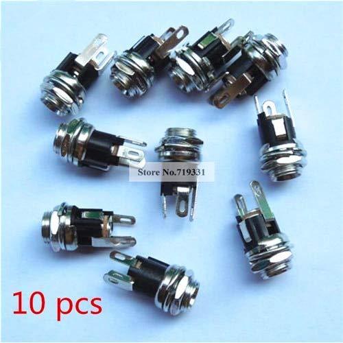 10PCS DC Power Supply Jack Socket Female Panel-Mount Connector 5.5 x 2.1mm.