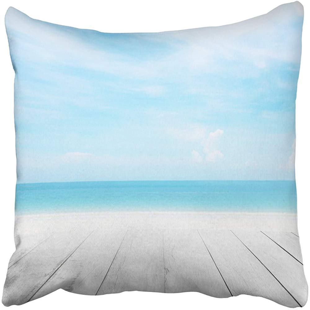 Throw Pillow Covers Print The Blur Cool Sea with Wood Floor Foreground on Horizon Tropical Sandy Beach Relaxing Outdoors Polyester 18 X 18 Inch Square Hidden Zipper Decorative Pillowcase